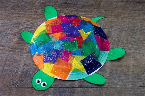 Paper Turtle Craft - tissue paper and paper plate turtle craft