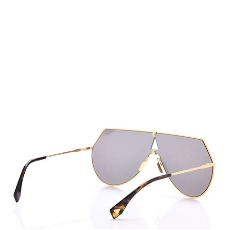 Fendi Mirrored Wallet by Fendi Mirrored Eyeline Sunglasses Ff 0193 S Matte Gold 241243