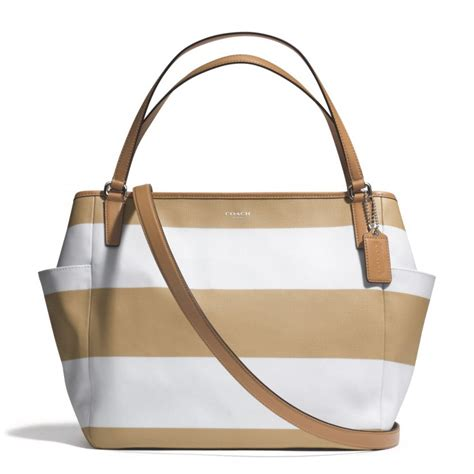 Coach Htons Stripe Medium Purse by Lyst Coach Striped Coated Canvas Tote In Brown