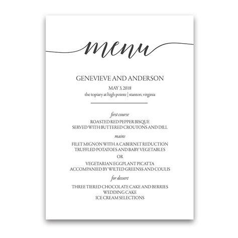 design menu for wedding script handwriting custom wedding menu design