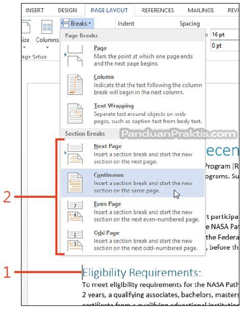section break in word 2013 cara memasukkan section break di word 2013
