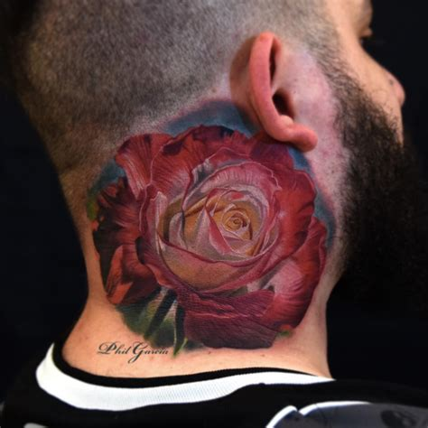 rose tattoo on guy 70 fantastic neck tattoos
