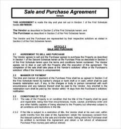 sales purchase agreement template sle purchase agreement 10 exles format
