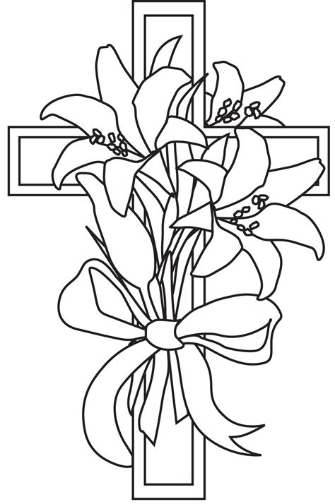 lily and cross easter coloring coloring pages