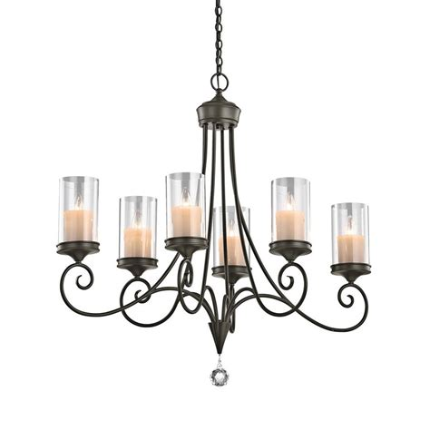 Shadow Chandelier Shop Kichler Laurel 18 In 6 Light Shadow Bronze Vintage Clear Glass Candle Chandelier At Lowes