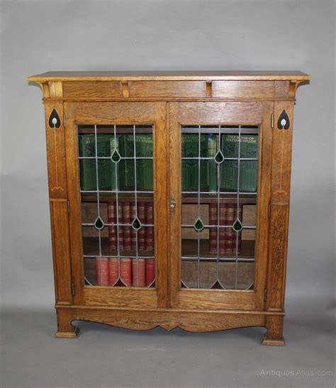 bookcase display arts and crafts oak c1900 antiques atlas arts and crafts inlaid oak glazed bookcase antiques atlas