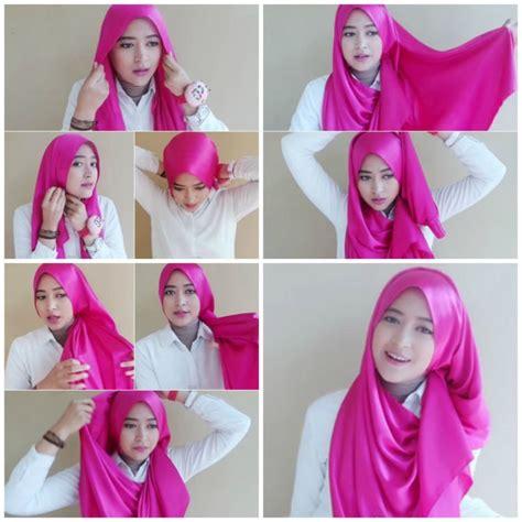 tutorial gambar cara hijab 17 contoh model hijab terbaru dan cara memakainya sangat mudah