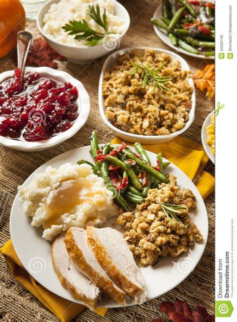 Thanksgiving Dinner Table Homemade Turkey Thanksgiving Dinner Stock Photo Image
