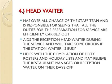 Food Service Job Description For Resume by The Food And Beverage Service Department