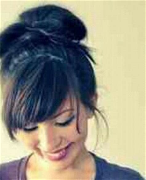 how to comb a bun with side swept bangs quick and messy bun updo with layered side swept bangs