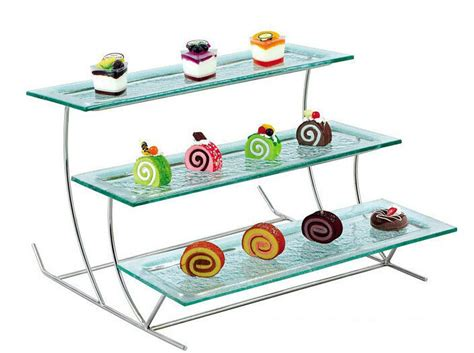 acrylic buffet display pmma tier buffet rack plastic