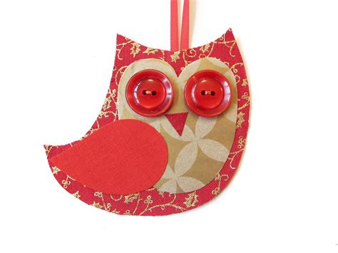 christmas owl decoration red gold felt