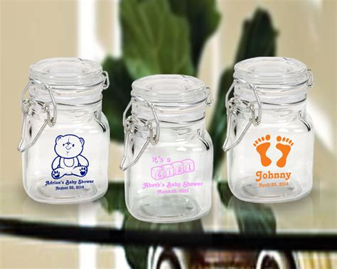 Jars For Baby Shower by Baby Shower Imprinted Glass Jars With Snap Lid Favors