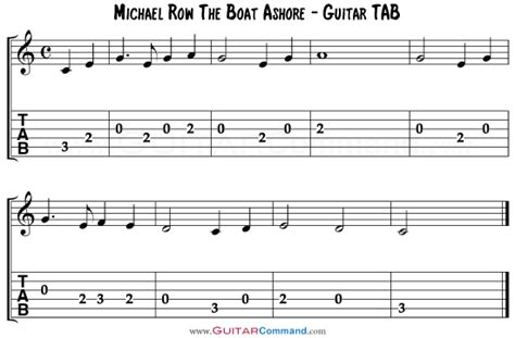 chords for michael row the boat ashore how to read music for guitar start reading music