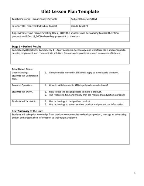 blank ubd lesson plan template sle ubd lesson plan in arithmetic sequence
