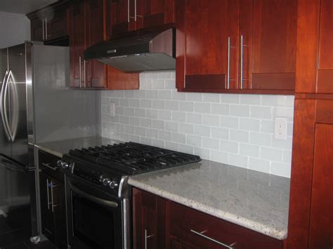 Subway Tile Backsplashes For Kitchens White Glass Subway Tile Backsplash Interior Decorating