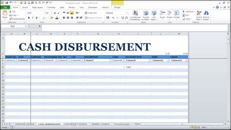 disbursement journal template bookkeeping kit ms excel