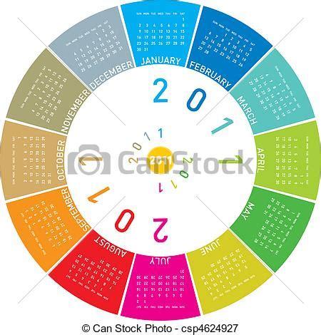 Calendario Circular Colorful Circular Calendar 2011 Royalty Free Eps Clip