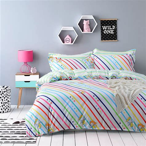 colorful twin bedding new arrival colorful rainbow stripes bedding set 4pcs