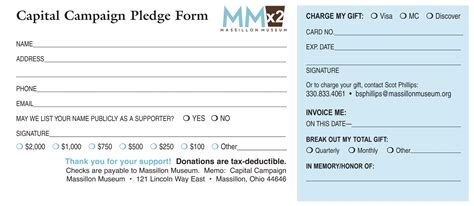 capital caign pledge card template massillon museum mmx2 contribute to the caign