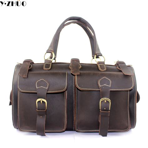 Chikito Travel Bag 6 In 1 genuine leather travel bag large handbag vintage duffel bag messenger