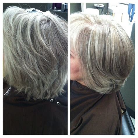 how to blend in grey hair grey blending with carmel tones yelp