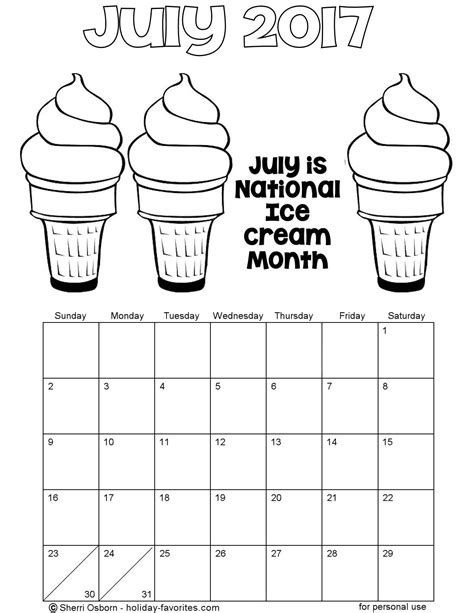 printable calendar coloring pages 2017 printable july 2017 calendars holiday favorites