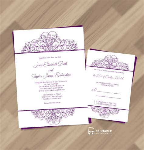 printable invitation kits decorative ornamental header wedding invitation and rsvp