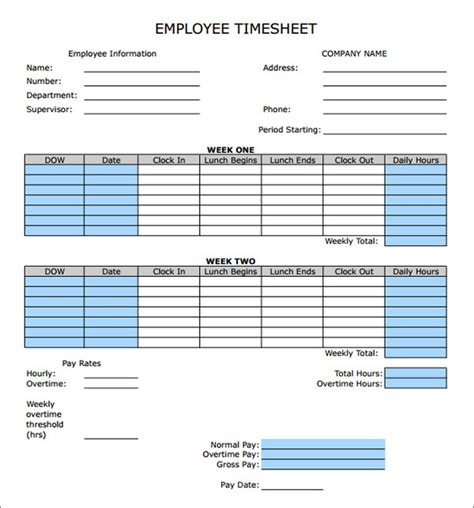 biweekly paid lunch printable time sheet time sheet calculator templates 15 download free