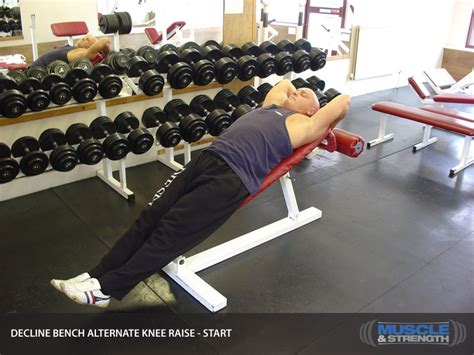 bench knee in decline bench alternate knee raise video exercise guide