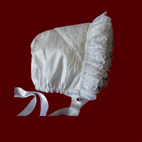 ruffle bonnet silk bonnet with embroidered organza ruffle