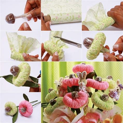 How To Make A Bouquet Of Flowers With Paper - diy chocolate paper flower bouquet