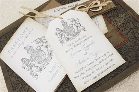 Ireland Crest Passport Wedding Invitation (Kilkeel, Ireland)