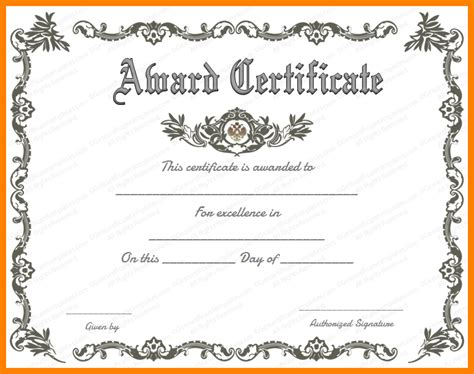 free word certificate template award certificate template free template business