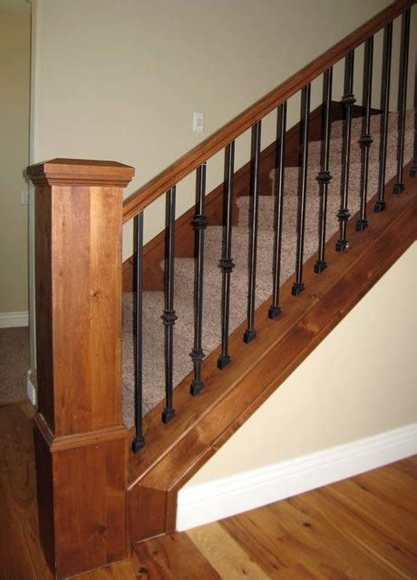 Banister Rail And Spindles Wood Railing With Wrought Iron Balusters Traditional