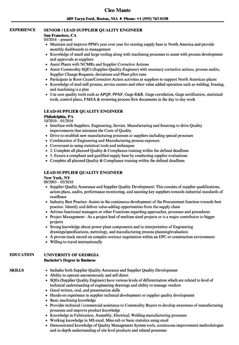 lead supplier quality engineer resume sles velvet