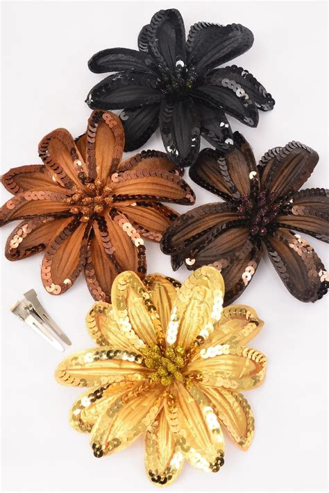 Dress Flower Jumbo sequin flower jumbo browntone mix alligator clip brooch