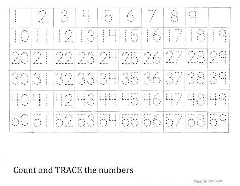 indonesian numbers 1 100 printable trace the number 1 59 worksheet homeschool pinterest