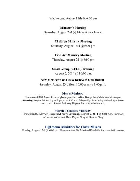 Sle Invitation For Prayer Meeting Announcements And Opening Prayer August 17 2014