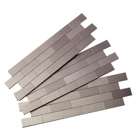 peel and stick backsplash home depot aspect subway matted peel and stick tiles brushed