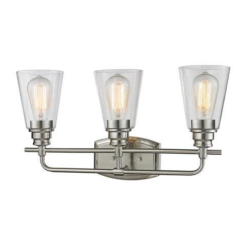 Nickel Vanity Light Filament Design 3 Light Brushed Nickel Bath Vanity Light Cli Jb040500 The Home Depot
