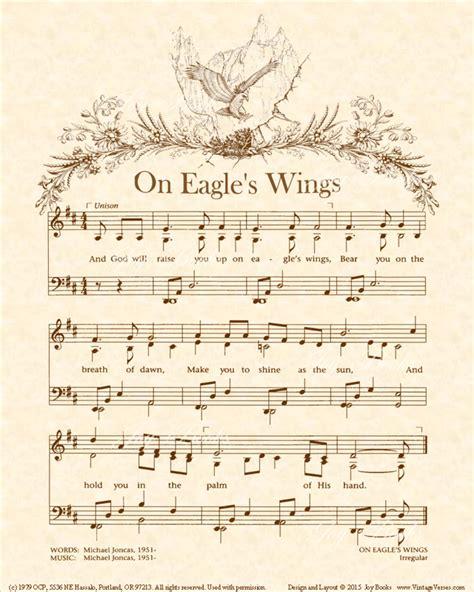 printable lyrics to on eagles wings hymns o vintageverses