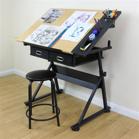 How To Use A Drafting Table Adjustable Drawing Board Drafting Table With Stool Craft Architect Desk Stand Ebay