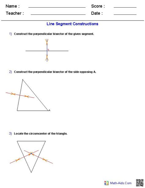 Construction Worksheets Geometry by Perpendicular Bisector Constructions Worksheets Math