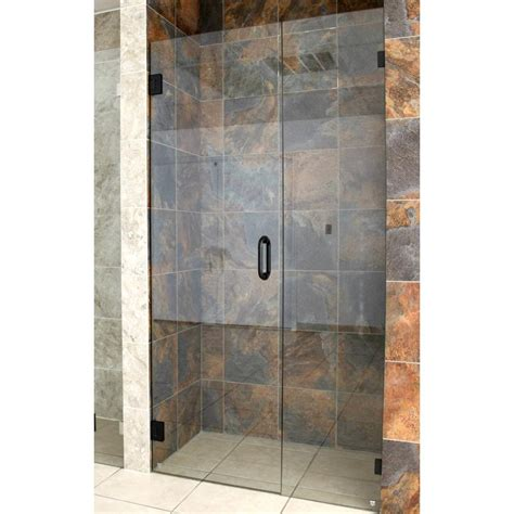 Frameless Shower Glass Door 52 5 In X 78 In Frameless Wall Hinged Shower Door In Rub Bronze Gw Wh 52 5 Orb The Home