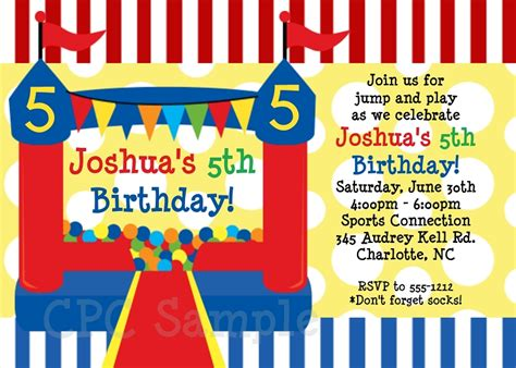 Red And Blue Bounce House Circus Birthday Party Invitations Free Bounce Invitation Template