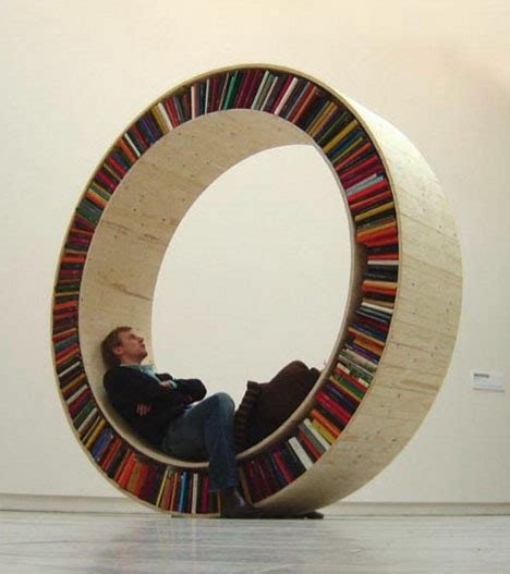 archival arts library installation circles bookcases
