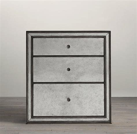 Black Nightstand With Mirrored Drawers Black Border Strand Mirrored 3 Drawer Closed Nightstand