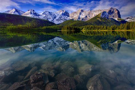 mountain landscape reflection mountains lake rocks