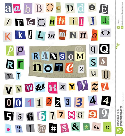 Or For Free Vector Ransom Note 1 Cut Paper Letters Numbers Symbols Stock Vector Illustration Of